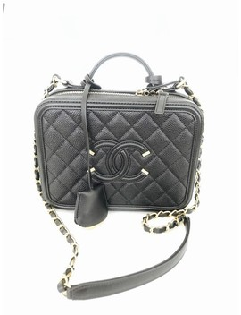 Vanity Case Caviar Quilted Large Cc Filigree Black Lambskin Leather Shoulder Bag by Chanel