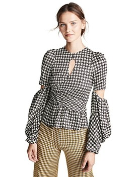 Celeste Keyhole Houndstooth Top by Hellessy