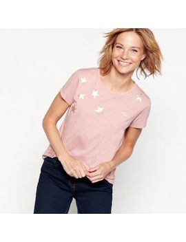 The Collection   Pink Star Print Cotton Blend T Shirt by The Collection