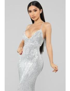 Are You Feeling Me Sequin Gown   Silver by Fashion Nova