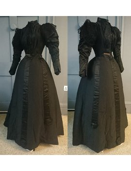 Gothic 1890s Mourning Dress For An Adolescent With Lace   Victorian Antique Fashion by Etsy
