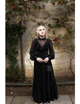 Schwarze Spitze, Edwardian Kleid, Viktorianischen Kleid, Schwarz, Schwarze Gothic Kleid, Vintage Kleid, Gothic Kleid, Spitzenkleid, Kleid Aus Baumwolle by Etsy