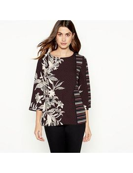 The Collection   Black Mixed Print Blouse by The Collection