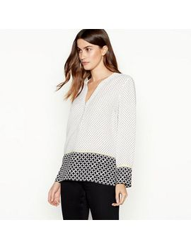 The Collection   Ivory Geometric Print Utility Blouse by The Collection