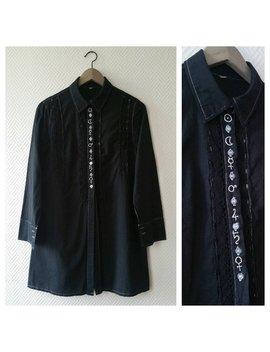 Jahrgang Lange Schwarz Shirt Größe S / Hand Stickerei / Alchemist Symbole / Upcycling /Alternative Mode / Gothic Lange Bluse Bestickt by Etsy