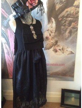 Gothic Kleid Viktorianischen Boho Zigeuner 1920er Jahre Stil Vintage Schwarze Spitze Romantisch Verändert Neu Gestaltete Gothic Lolita Flapper Lagenlook Größe Small by Etsy