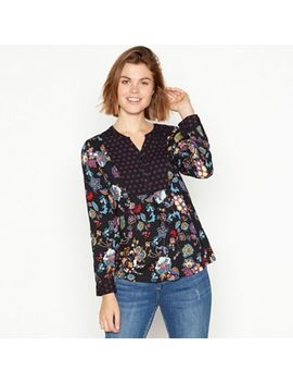 Maine New England   Black Floral Print Notch Neck Blouse by Maine New England