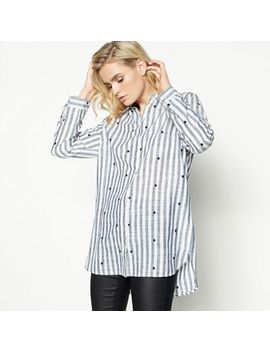 Principles   Blue Stripe Print Embroidered Shirt by Principles
