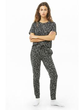 Sketched Cat Print Lounge Set by Forever 21