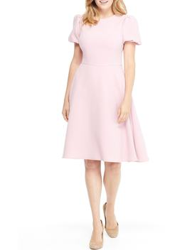 Krista Puff Sleeve Crepe Fit & Flare Dress by Gal Meets Glam Collection