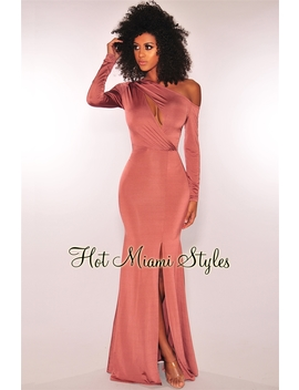 Bronze Silky One Shoulder Key Hole Maxi Dress by Hot Miami Style
