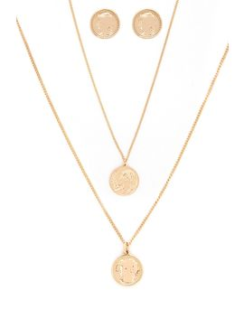 Coin Stud Earrings & Necklace Set by Forever 21