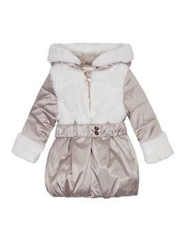Baker By Ted Baker   Girls' Pink Faux Fur Trim Coat by Baker By Ted Baker
