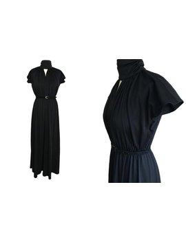 70er Jahre Französisch Jahrgang Funky Halsreif Hals Gotische Viktorianische Kimono Seidig Jersey Göttin Boho Maxi Kleid, Schwarze Halloween Xmas Party Kleid by Etsy