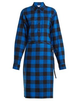 Tie Waist Checked Cotton Flannel Shirtdress by Vetements