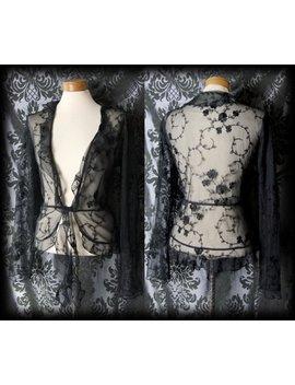 Goth Schwarz Schiere Spitzen Rüschen Durchscheinenden Krawatte Shrug Bolero 10 12 Jahrgang Glamour by Etsy
