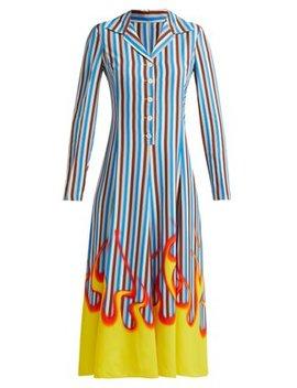 Flame And Stripe Print Satin Twill Midi Dress by Prada