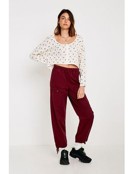 Uo Blithe Oversized Hook + Eye Crop Long Sleeve Top by Urban Outfitters