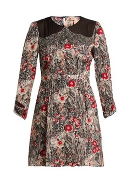 Floral Print Embellished Silk Mini Dress by No. 21