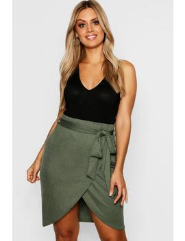 Plus Wrap Tie Mini Skirt by Boohoo