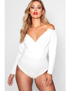 Plus Wrap Front Plunge Structured Bodysuit by Boohoo