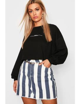 Plus Embroided Cest La Vie Long Sleeve T Shirt by Boohoo