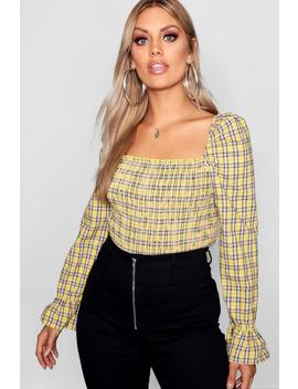 Plus Check Shirred Detail Top by Boohoo