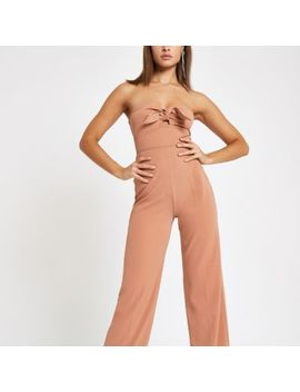 Beige Bow Bandeau Jumpsuit by River Island