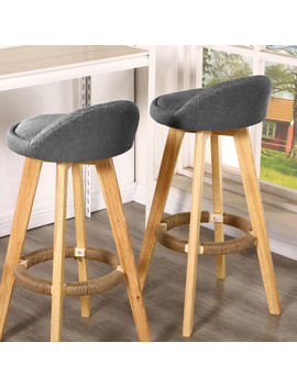 2x Bentwood Bar Stool Wooden Barstool Dining Chair Linen/Pu Kitchen Swivel by Unbranded