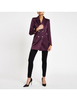 Purple Satin Double Breasted Blazer by River Island