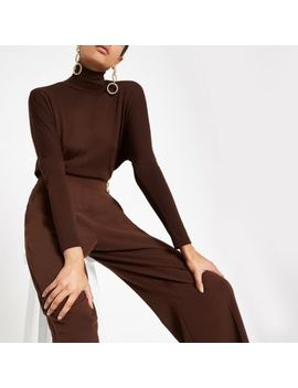 Dark Brown Roll Neck Batwing Sleeve Top by River Island