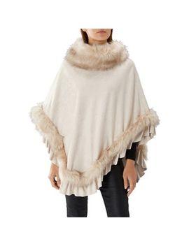 Coast   Ivory White 'mc Williams' Faux Fur Poncho by Coast