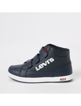 Boys Navy Levi's Velcro Hi Top Trainers by River Island