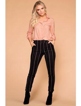 Hustle Black Striped Trouser Pants by Priceless