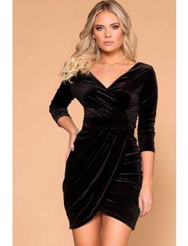 Lady Luck Black Velvet Wrap Mini Dress by Priceless