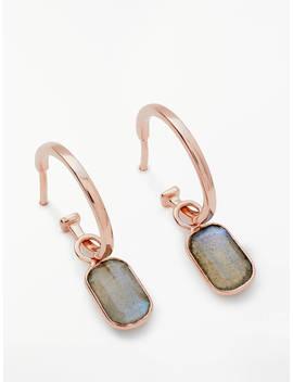 John Lewis & Partners Semi Precious Stone Hoop Earrings, Labradorite by John Lewis & Partners