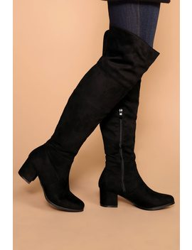 Dublin Black Block Heel Over The Knee Boots by Priceless