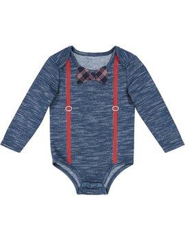 Newborn Baby Boy Blue Heather Bodysuit With Suspenders & Bowtie by G Cutee
