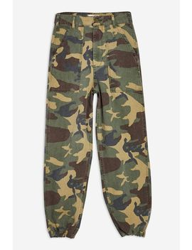 Camouflage Cuffed Utility Trousers by Topshop