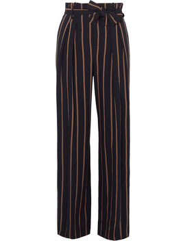 Belted Striped Crepe Wide Leg Pants by Vince