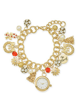 Holiday Lane Gold Tone Crystal, Stone & Imitation Pearl Watch Charm Bracelet, Created For Macy's by Charter Club