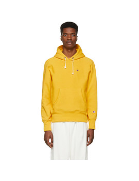 Yellow Logo Hoodie by Champion Reverse Weave