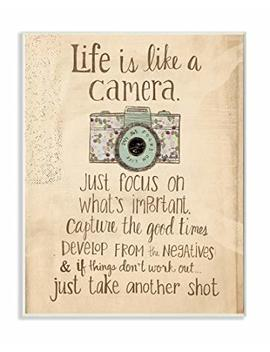 Stupell Home Décor Life Is Like A Camera Inspirational Art Wall Plaque, 10 X 0.5 X 15, Proudly Made In Usa by The Stupell Home Décor Collection