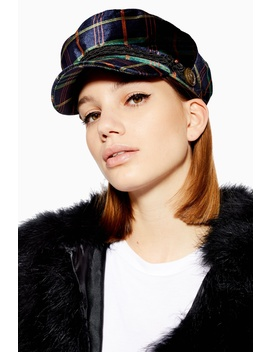 Velvet Check Baker Boy Hat by Topshop