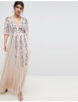 Asos Design Maxi Dress With Cape Back In Floral Embellishment by Asos Design