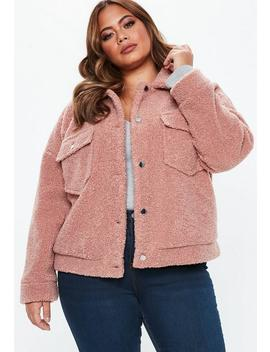 Plus Size Rose Borg Trucker Teddy Jacket by Missguided