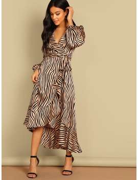 Shawl Collar Surplice Wrap Flounce Zebra Dress by Shein