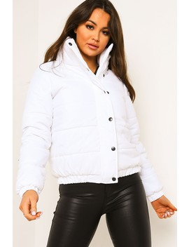 White Funnel Neck Padded Puffer Jacket by Lasula