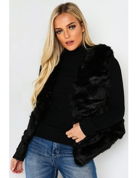 Black Faux Fur Pelted Gilet by Lasula