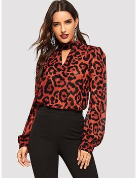 Keyhole Neck Bishop Sleeve Leopard Top by Shein